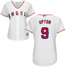 Women - Los Angeles Angels #9 Justin Upton Home White Cool Base Jersey