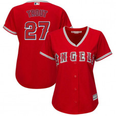 Women - Los Angeles Angels #27 Mike Trout Alternate Scarlet Cool Base Jersey