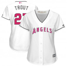 Women - 2017 Mother's Day Los Angeles Angels #27 Mike Trout White Cool Base Jersey