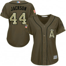 Women - Reggie Jackson #44 Los Angeles Angels Salute to Service Olive Cool Base Jersey