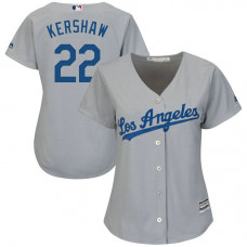 Women - Los Angeles Dodgers #22 Clayton Kershaw Road Grey Cool Base Jersey
