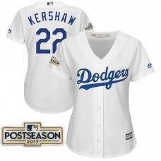 Women - Clayton Kershaw #22 Los Angeles Dodgers 2017 Postseason White Cool Base Jersey