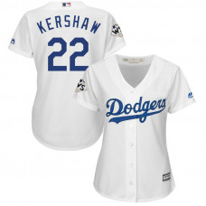 Women - Clayton Kershaw #22 Los Angeles Dodgers 2017 World Series Bound White Cool Base Jersey