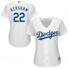Women - Los Angeles Dodgers #22 Clayton Kershaw Home White Cool Base Jersey