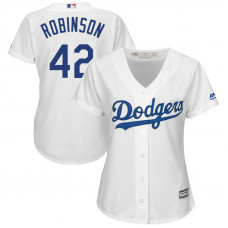Women - Brooklyn Dodgers #42 Jackie Robinson Replica White Cool Base Jersey