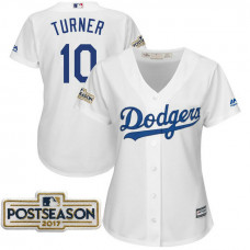 Women - Justin Turner #10 Los Angeles Dodgers 2017 Postseason White Cool Base Jersey