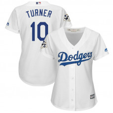 Women - Justin Turner #10 Los Angeles Dodgers 2017 World Series Bound White Cool Base Jersey