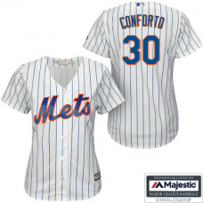 Women - New York Mets #30 Michael Conforto White Cool Base Home Jersey
