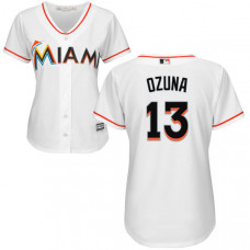 Women - Miami Marlins Marcell Ozuna #13 White Authentic Cool base Jersey