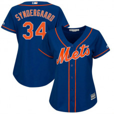 Women - New York Mets #34 Noah Syndergaard Alternate Royal Cool Base Jersey