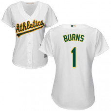 Women - Oakland Athletics Billy Burns #1 White Authentic Cool base Jersey