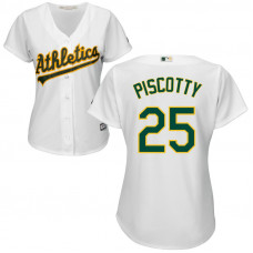 Women - Oakland Athletics #25 Stephen Piscotty Home White Cool Base Jersey