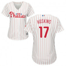 Women - Rhys Hoskins #17 Philadelphia Phillies Home White Cool Base Jersey