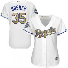 Women - Eric Hosmer #35 Kansas City Royals White World Series Champions Gold Program Cool Base Jersey