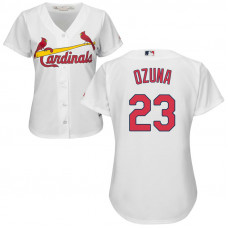 Women - St. Louis Cardinals #23 Marcell Ozuna Home White Cool Base Jersey