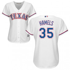 Women - Texas Rangers Cole Hamels #35 White Authentic Cool base Jersey