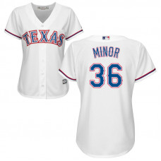 Women - Texas Rangers #36 Mike Minor Home White Cool Base Jersey
