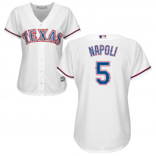 Women - Texas Rangers #5 Mike Napoli Home White Cool Base Jersey