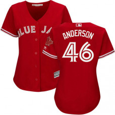 Women - Toronto Blue Jays #46 Brett Anderson 2017 Replica Scarlet Cool Base Jersey