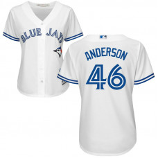 Women - Toronto Blue Jays #46 Brett Anderson Home White Cool Base Jersey