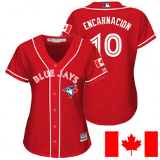 Women - Toronto Blue Jays Edwin Encarnacion #10 Red 2016 Canada Day Cool Base Jersey