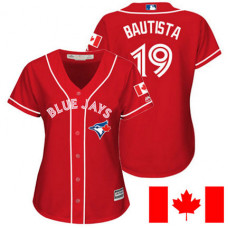 Women - Toronto Blue Jays Jose Bautista #19 Red 2016 Canada Day Cool Base Jersey