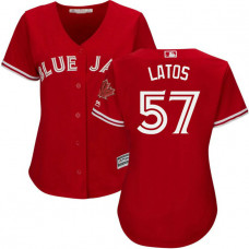 Women - Toronto Blue Jays #57 Mat Latos 2017 Replica Scarlet Cool Base Jersey