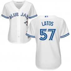 Women - Toronto Blue Jays #57 Mat Latos Home White Cool Base Jersey