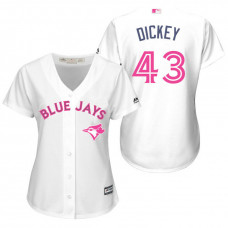 Women - Toronto Blue Jays #43 R.A. Dickey White Home 2016 Mother's Day Cool Base Jersey