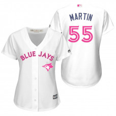 Women - Toronto Blue Jays #55 Russell Martin White Home 2016 Mother's Day Cool Base Jersey