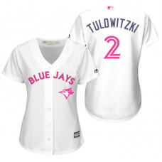 Women - Toronto Blue Jays #2 Troy Tulowitzki White Home 2016 Mother's Day Cool Base Jersey