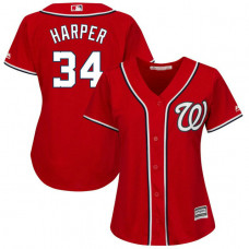 Women - Washington Nationals #34 Bryce Harper Alternate Scarlet Cool Base Jersey