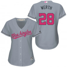 Women - Washington Nationals #28 Jayson Werth Grey Road 2016 Mother's Day Cool Base Jersey