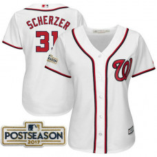 Women - Max Scherzer #31 Washington Nationals 2017 Postseason White Cool Base Jersey
