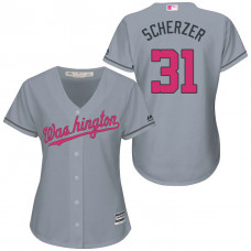Women - Washington Nationals #31 Max Scherzer Grey Road 2016 Mother's Day Cool Base Jersey