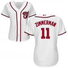 Women - Washington Nationals #11 Ryan Zimmerman Home White Cool Base Jersey