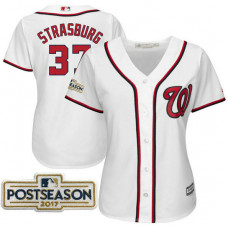Women - Stephen Strasburg #37 Washington Nationals 2017 Postseason White Cool Base Jersey