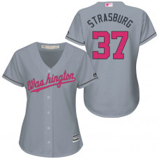 Women - Washington Nationals #37 Stephen Strasburg Grey Road 2016 Mother's Day Cool Base Jersey