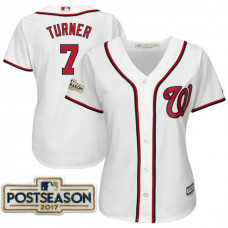 Women - Trea Turner #7 Washington Nationals 2017 Postseason White Cool Base Jersey