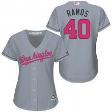 Women - Washington Nationals #40 Wilson Ramos Grey Road 2016 Mother's Day Cool Base Jersey