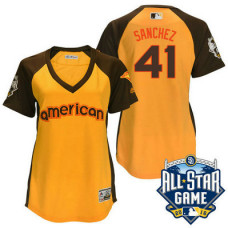 Women - 2016 All-Star American Toronto Blue Jays Aaron Sanchez #41 Yellow Home Run Derby Cool Base Jersey