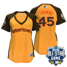 Women - 2016 All-Star American Baltimore Orioles #45 Mark Trumbo Gold Home Run Derby Cool Base Jersey