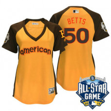 Women - 2016 All-Star American Boston Red Sox #50 Mookie Betts Gold Home Run Derby Cool Base Jersey