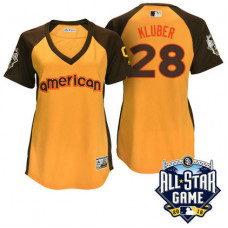Women - 2016 All-Star American Cleveland Indians Corey Kluber #28 Yellow Home Run Derby Cool Base Jersey