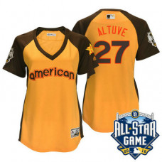 Women - 2016 All-Star American Houston Astros #27 Jose Altuve Gold Home Run Derby Cool Base Jersey