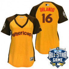 Women - 2016 All-Star American Kansas City Royals #16 Paulo Orlando Gold Home Run Derby Cool Base Jersey
