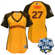 Women - 2016 All-Star American Los Angeles Angels #27 Mike Trout Gold Home Run Derby Cool Base Jersey