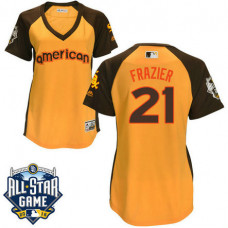Women - 2016 All-Star American Chicago White Sox Todd Frazier #21 Yellow Home Run Derby Cool Base Jersey