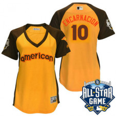Women - 2016 All-Star American Toronto Blue Jays #10 Edwin Encarnacion Gold Home Run Derby Cool Base Jersey
