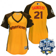 Women - 2016 All-Star American Toronto Blue Jays #21 Michael Saunders Gold Home Run Derby Cool Base Jersey